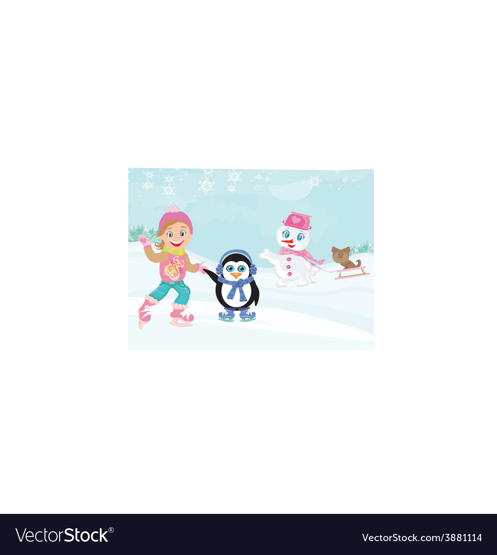 Fun in the winter day vector | Price: 1 Credit (USD $1)
