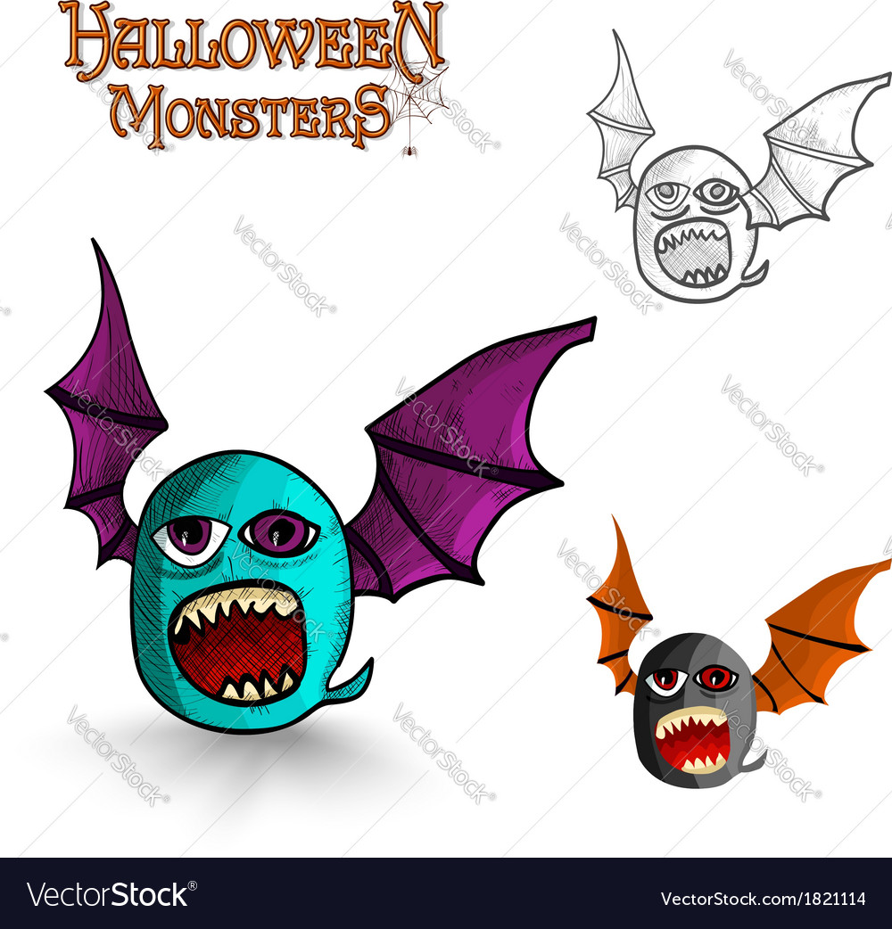 Halloween monsters freak bat eps10 file vector | Price: 1 Credit (USD $1)
