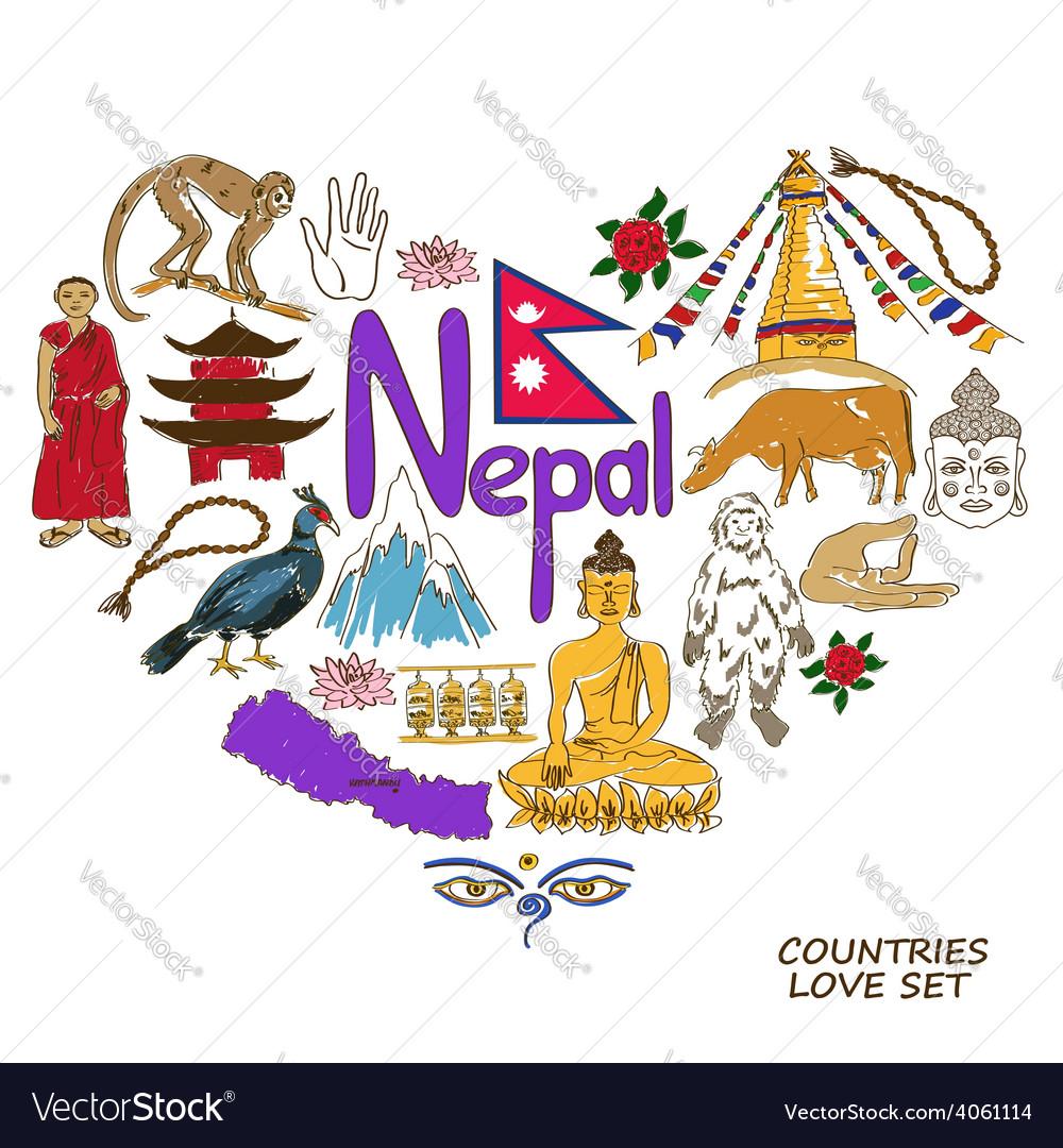 Nepal symbols in heart shape concept vector | Price: 1 Credit (USD $1)