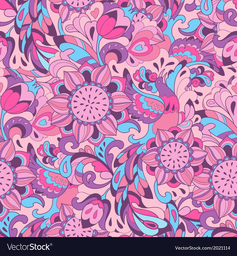 Pink blue pattern with bird phoenix and sunflower vector
