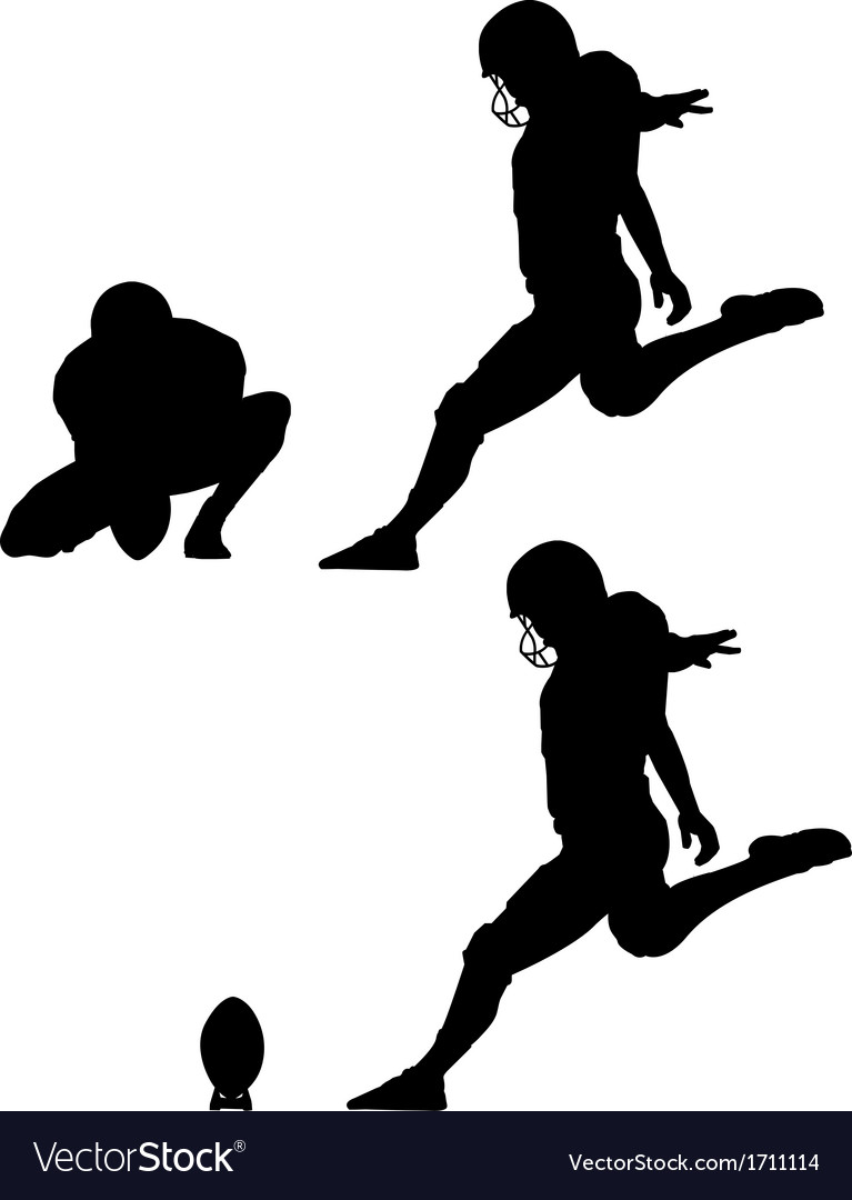 Place kick field goal silhouettes vector | Price: 1 Credit (USD $1)