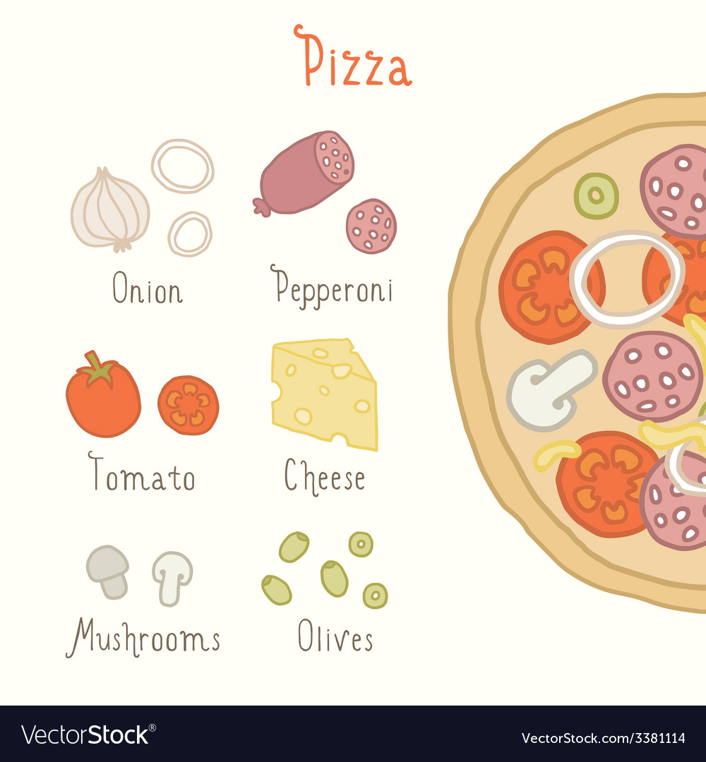 Regular pizza ingredients vector | Price: 1 Credit (USD $1)