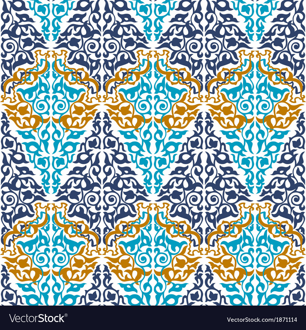 Seamless in mosaic ethnic style vector | Price: 1 Credit (USD $1)
