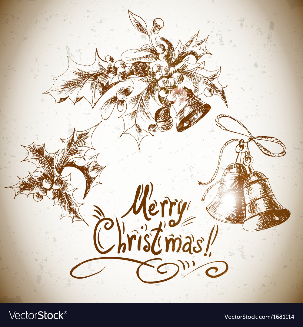 Set vintage christmas design elements vector | Price: 1 Credit (USD $1)