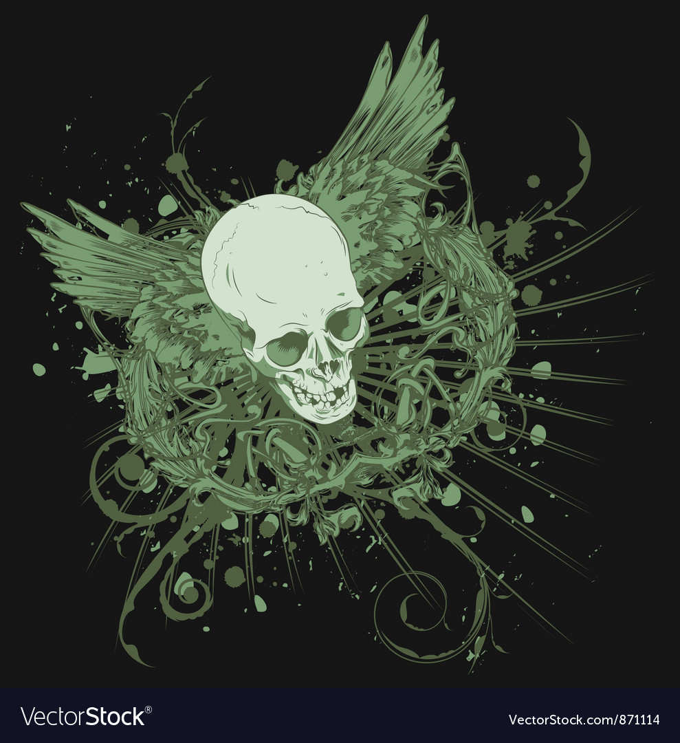 Vintage t-shirt design with skull vector | Price: 1 Credit (USD $1)