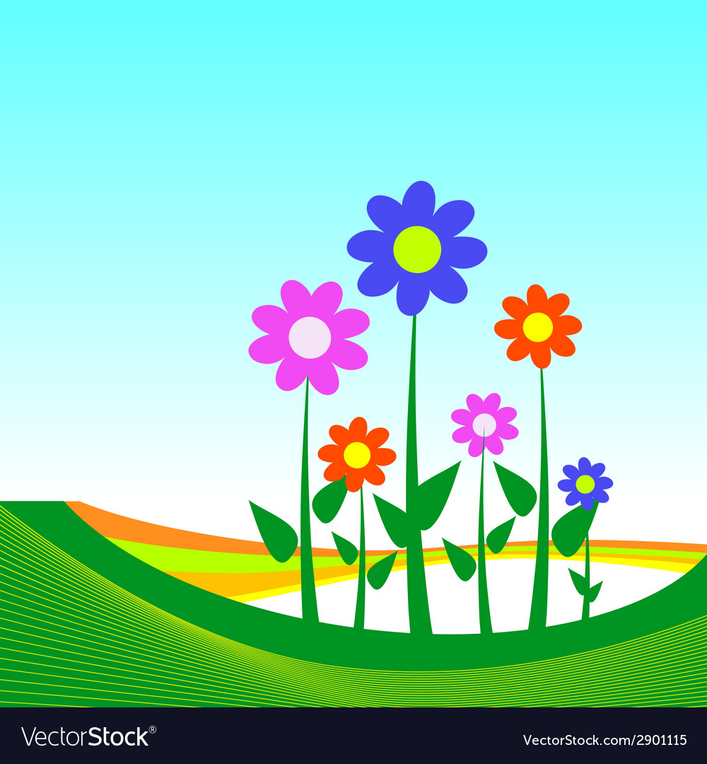 Flower on blue background vector | Price: 1 Credit (USD $1)