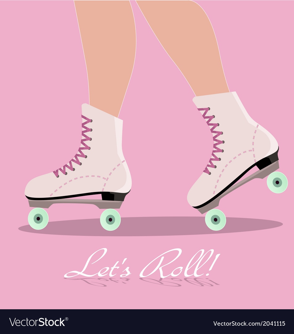 Invitation card with roller skates vector | Price: 1 Credit (USD $1)
