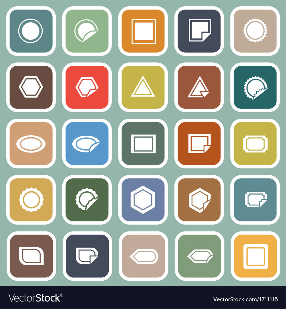 Label flat icons on blue background vector | Price: 1 Credit (USD $1)
