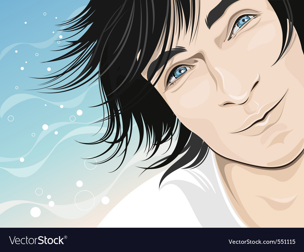 Male model happy face vector | Price: 3 Credit (USD $3)
