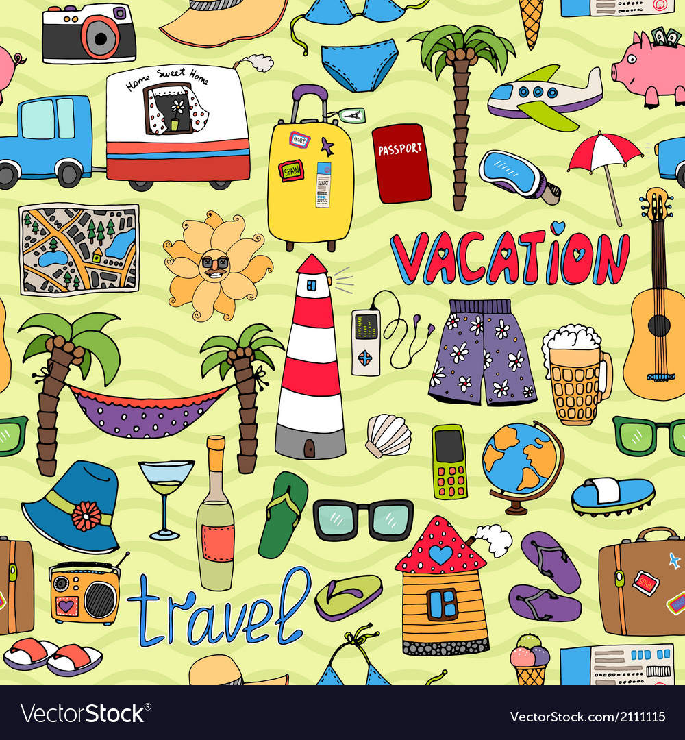 Seamless tropical vacation and travel pattern vector | Price: 1 Credit (USD $1)