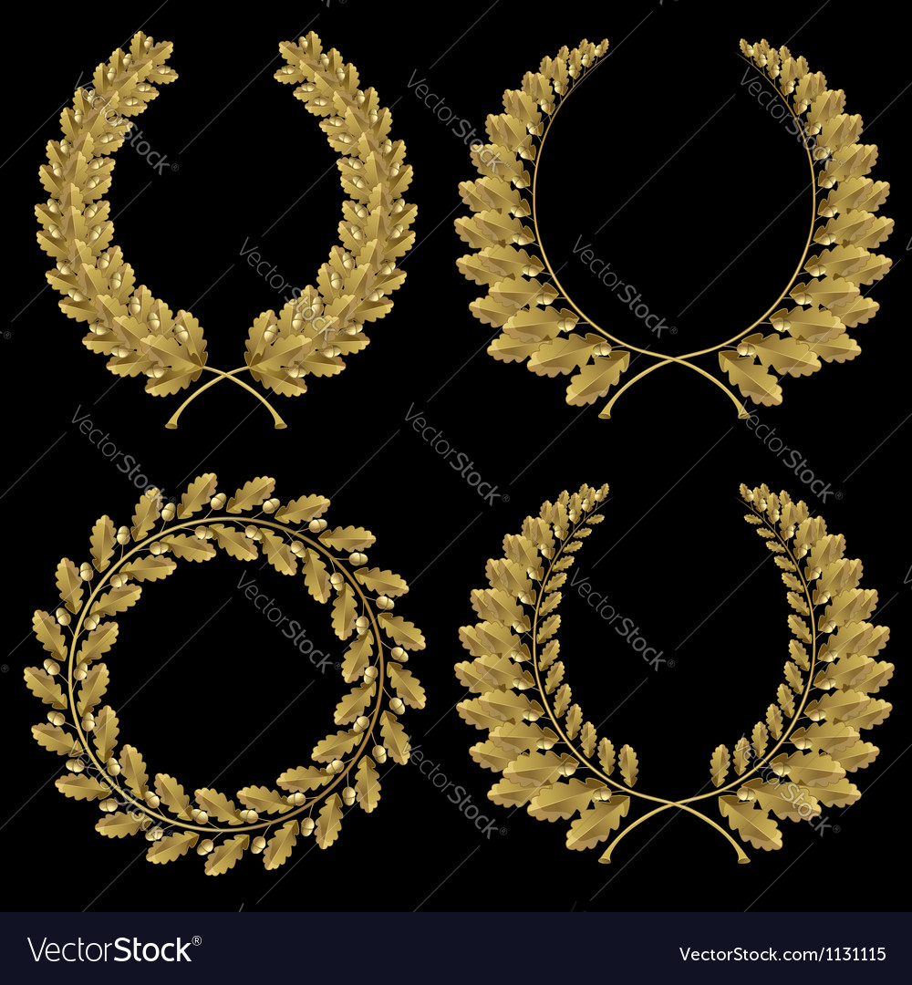 Set from gold oak wreath vector | Price: 1 Credit (USD $1)