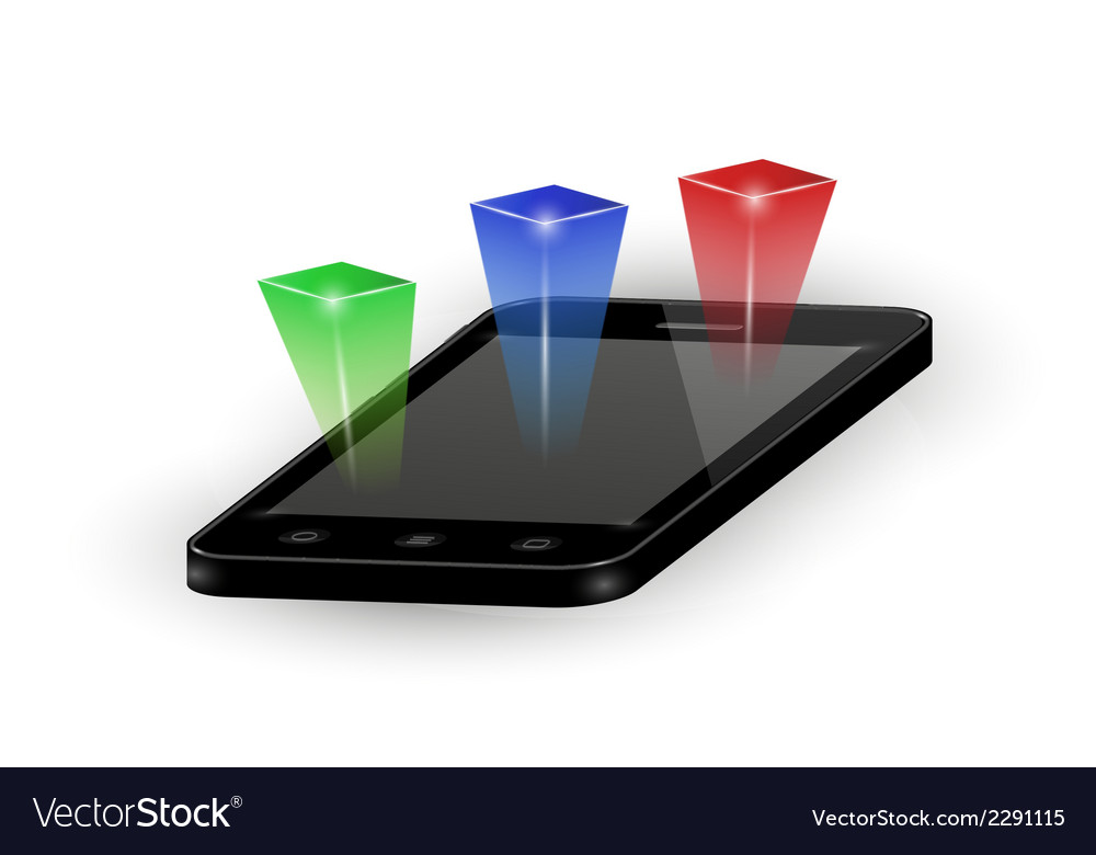 Smartphone with three color elements vector | Price: 1 Credit (USD $1)
