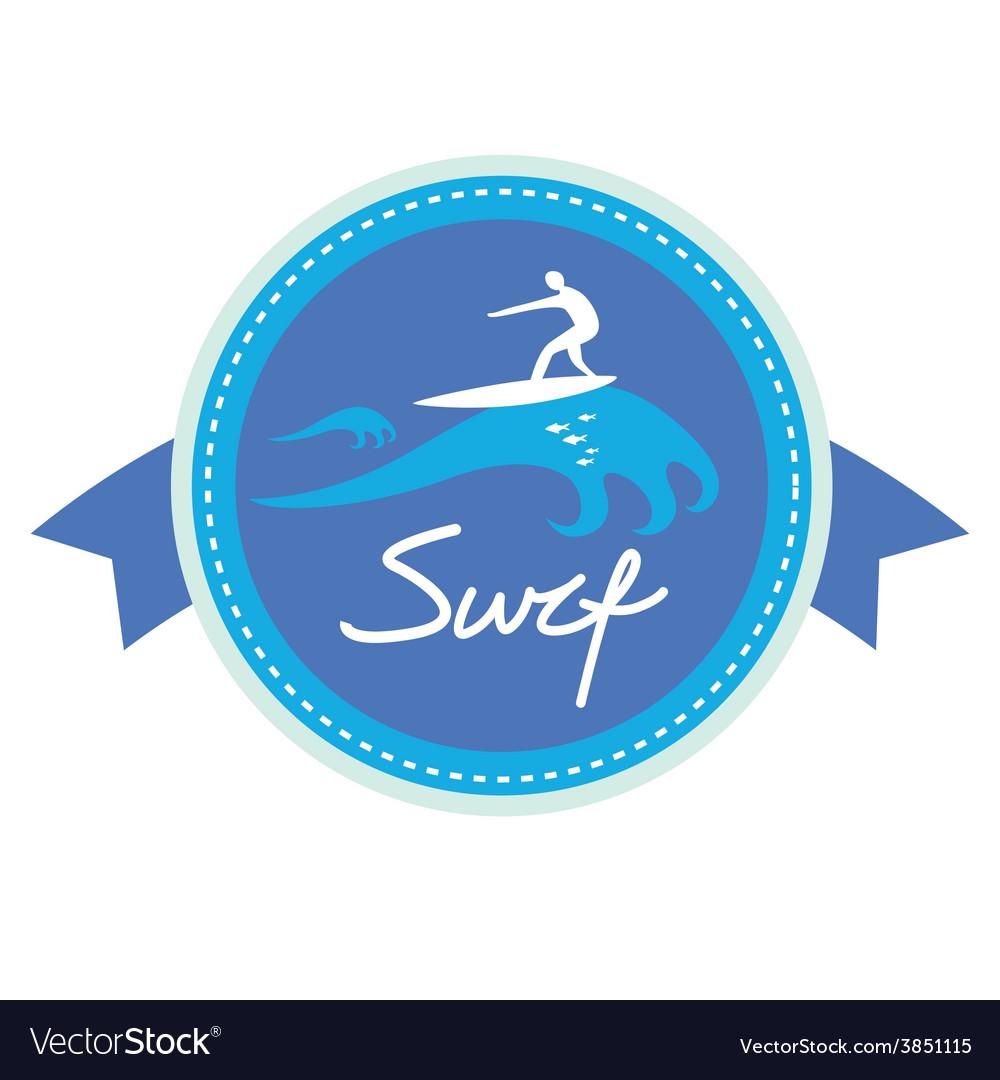 Surf ing emblem design vector | Price: 1 Credit (USD $1)