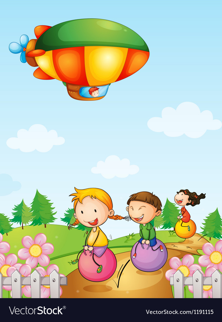 Three kids playing below an airship vector | Price: 1 Credit (USD $1)