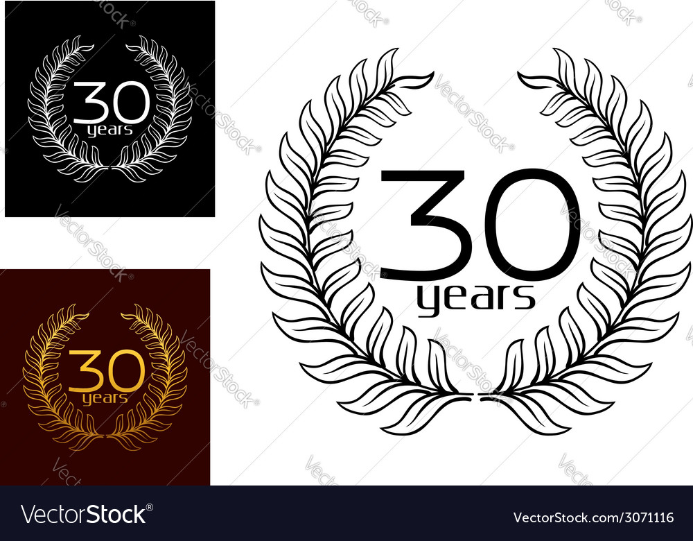 30 years anniversary wreaths vector | Price: 1 Credit (USD $1)