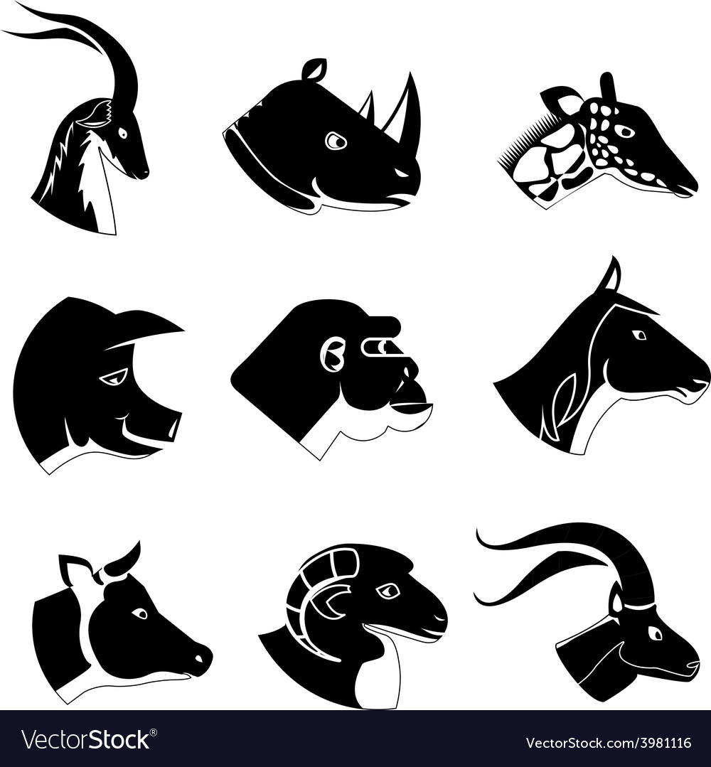 Animal heads silhouette icons vector | Price: 1 Credit (USD $1)