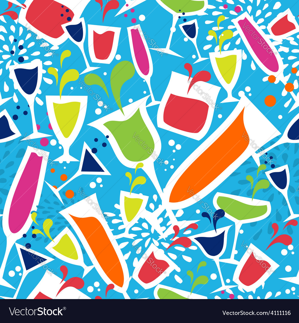 Cocktail glass drink seamless pattern vector | Price: 1 Credit (USD $1)
