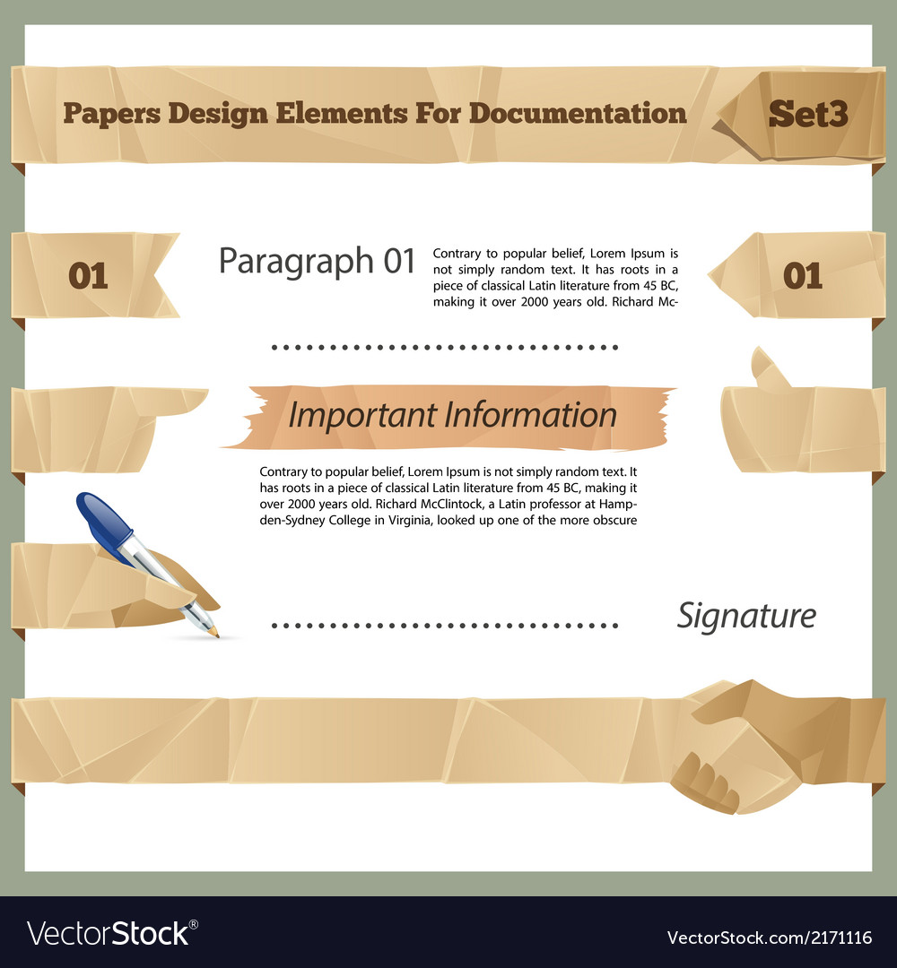 Crumpled paper design elements for documentation vector | Price: 1 Credit (USD $1)