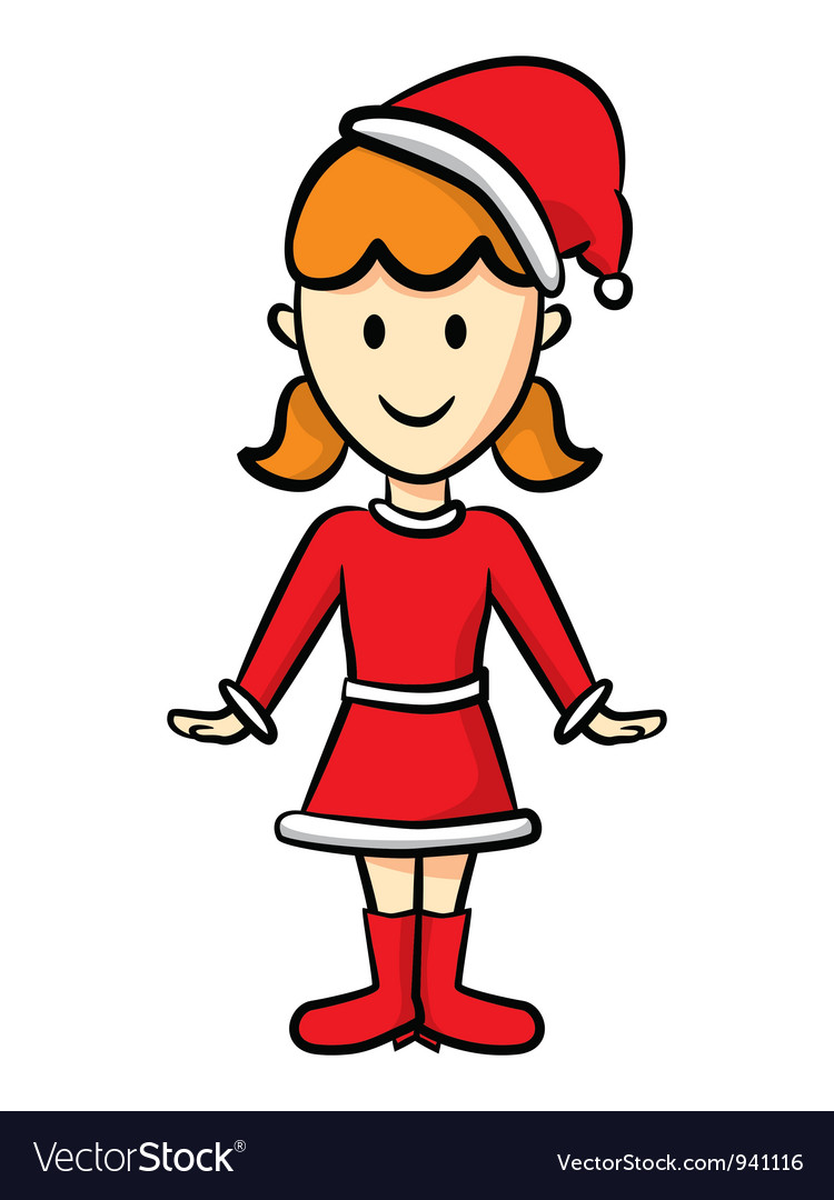 Cute girl wearing santa costume vector | Price: 1 Credit (USD $1)