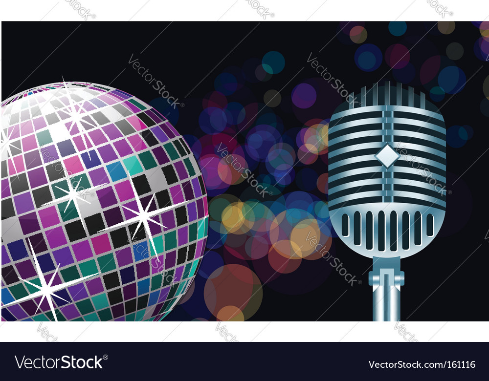 Disco ball with microphone vector | Price: 1 Credit (USD $1)