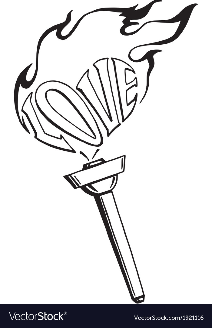 Flaming heart torch of love vector | Price: 1 Credit (USD $1)