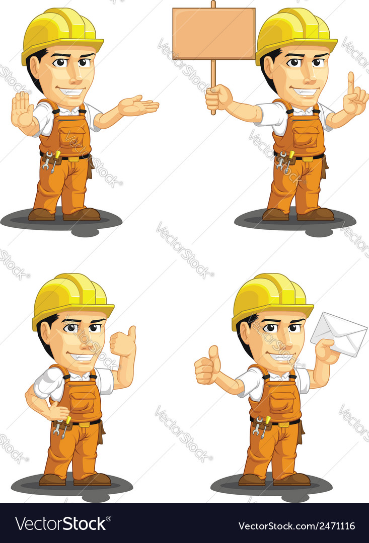 Industrial construction worker mascot 4 vector | Price: 1 Credit (USD $1)
