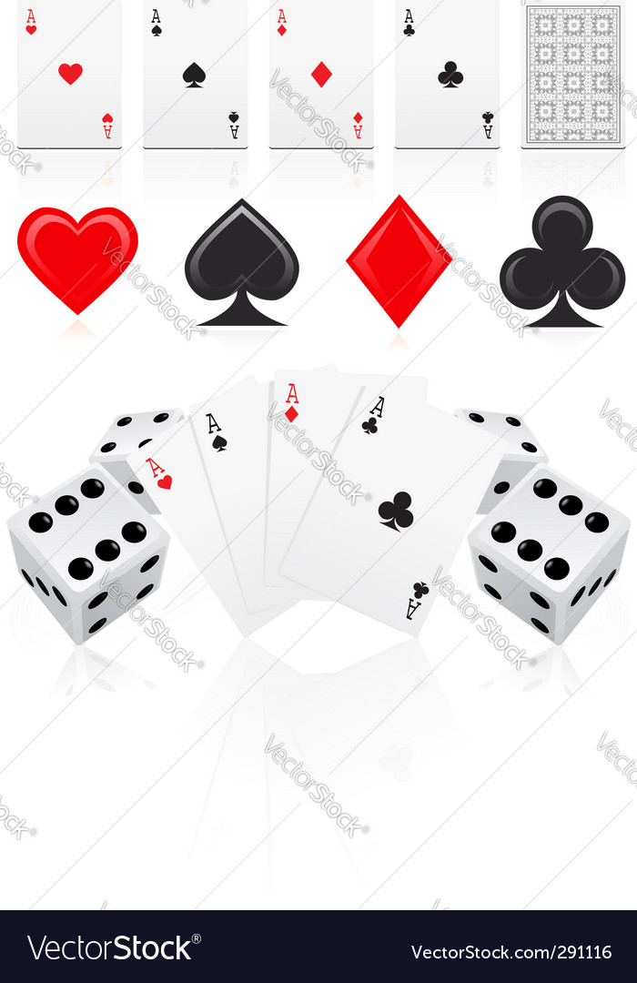 Playing cards with dices vector | Price: 1 Credit (USD $1)