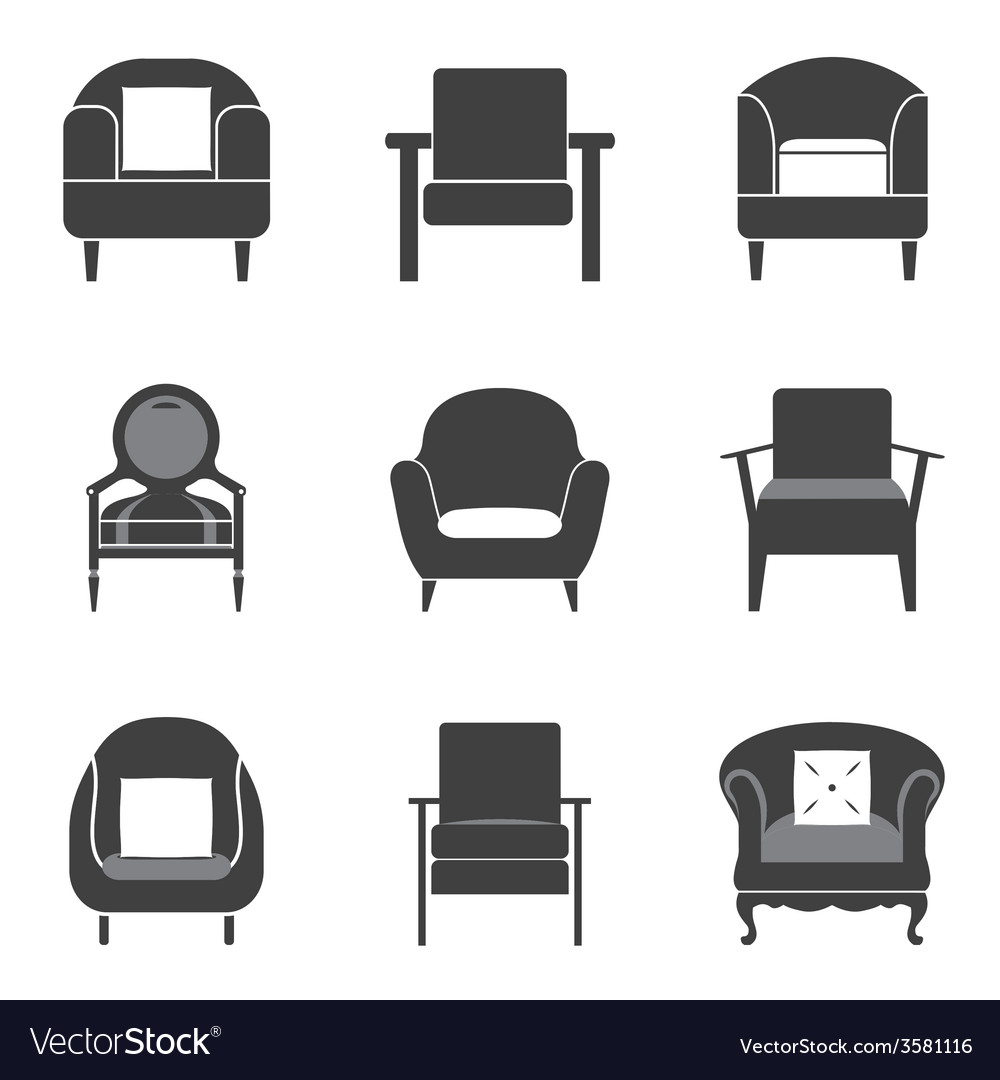 Sofa icon set vector | Price: 1 Credit (USD $1)