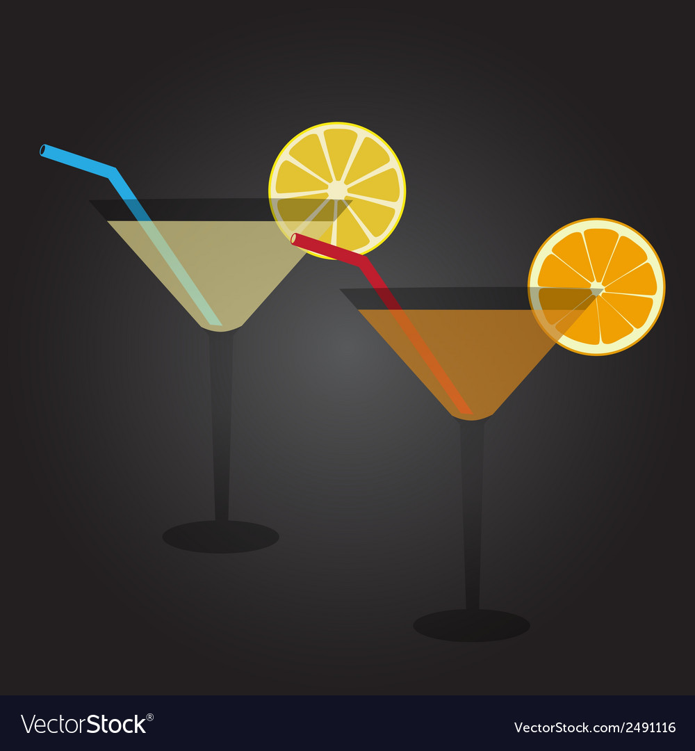 Two glasses full of cocktail drink at party eps10 vector | Price: 1 Credit (USD $1)