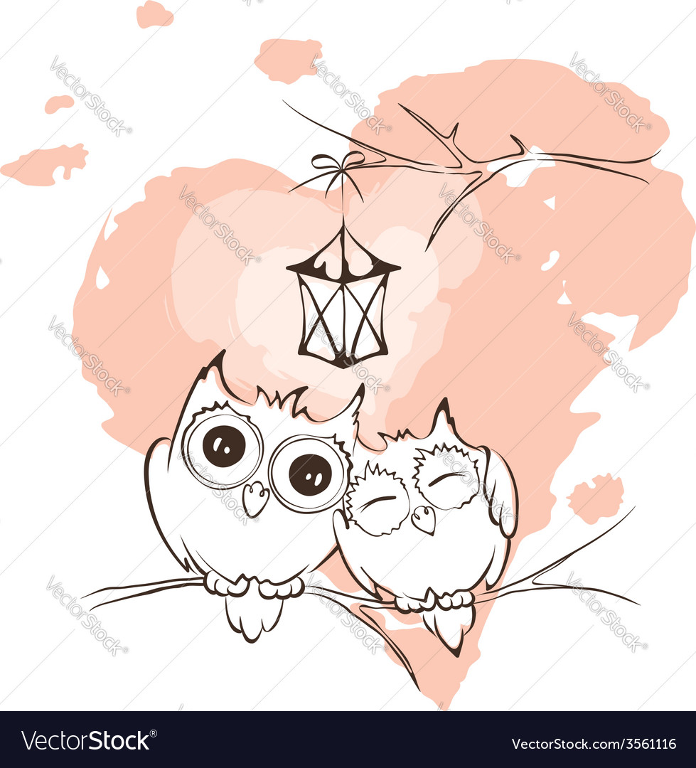 Valentine card - love owls vector | Price: 1 Credit (USD $1)