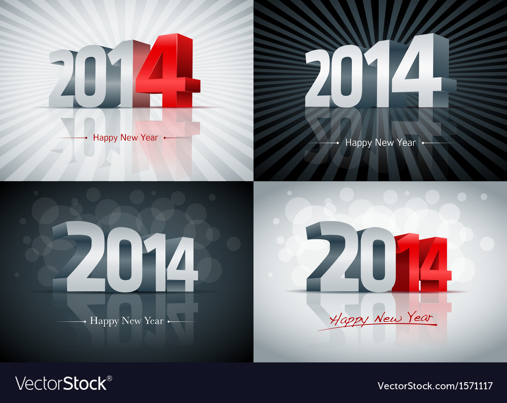 2014 happy new year set vector | Price: 1 Credit (USD $1)