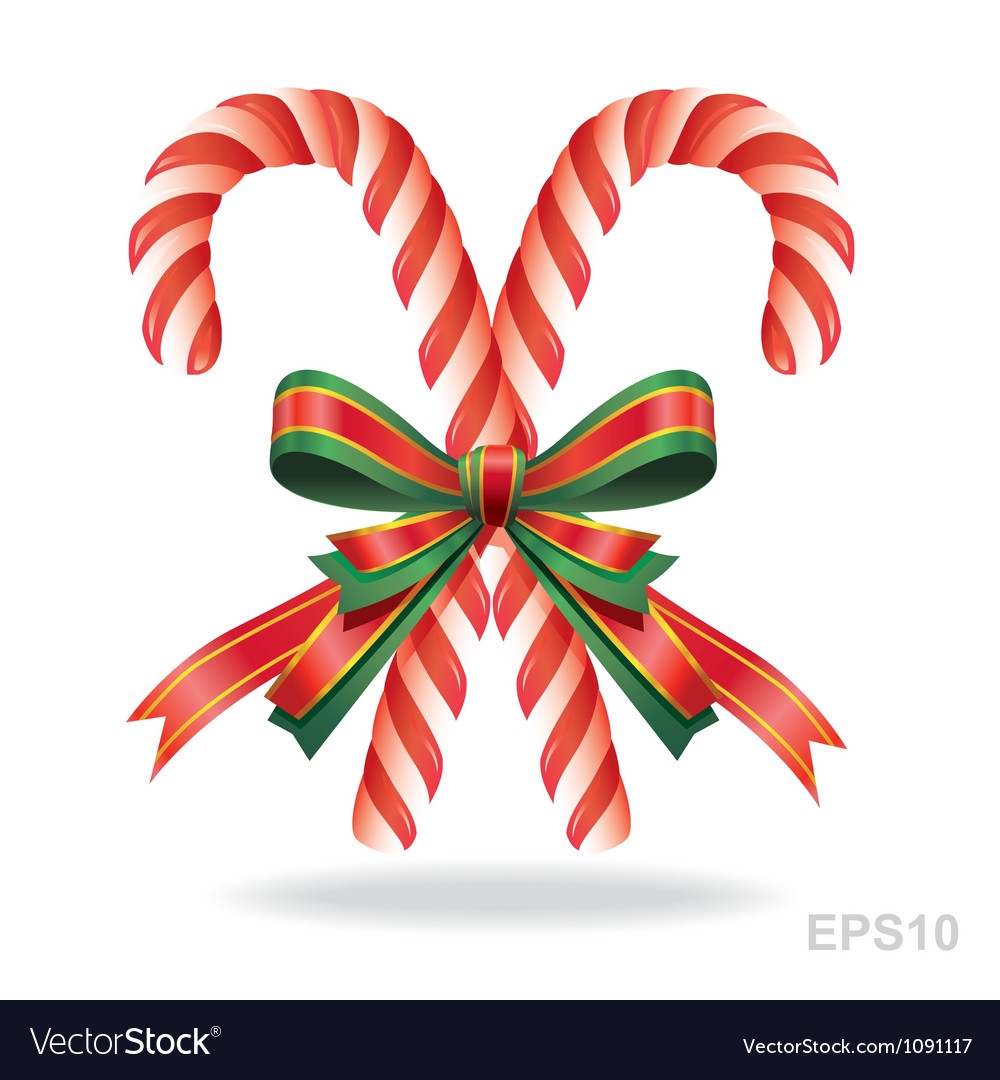 Christmas candy cane and ribbon vector | Price: 1 Credit (USD $1)