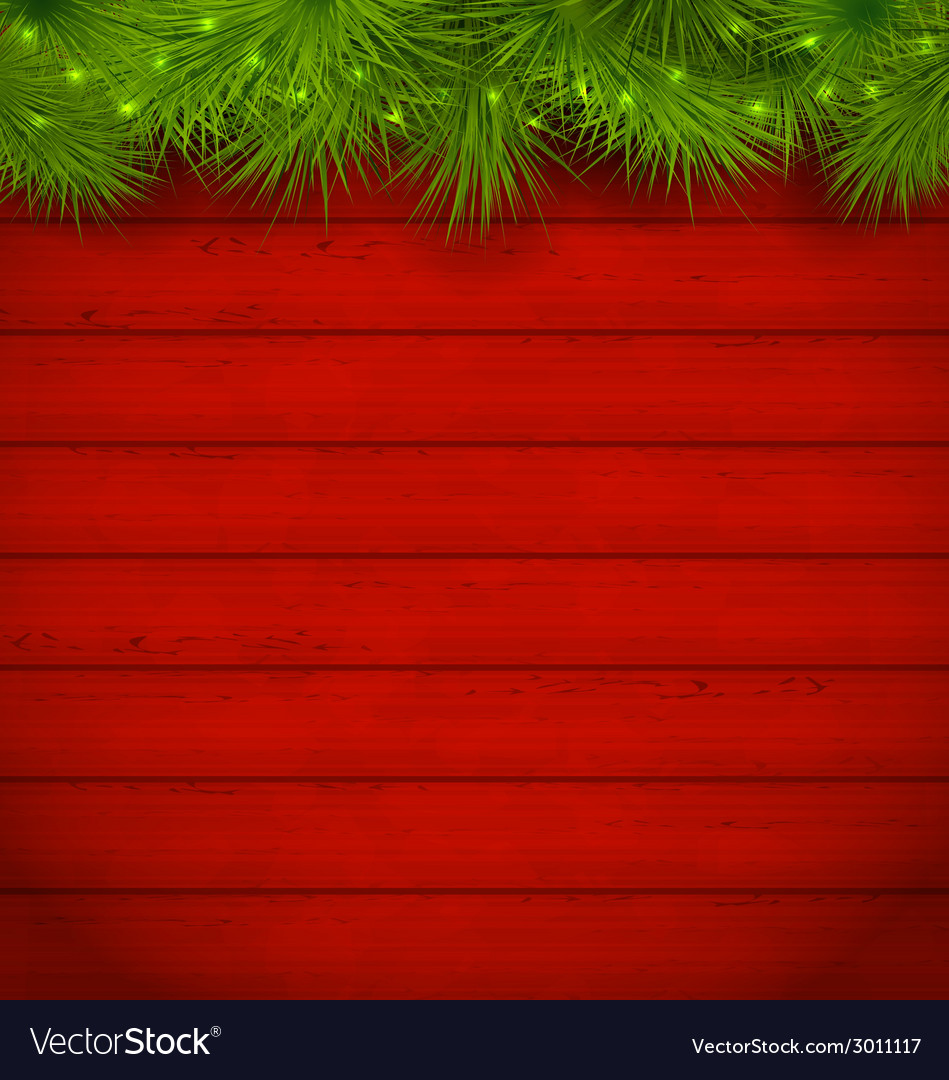Christmas wooden background with fir twigs vector | Price: 1 Credit (USD $1)
