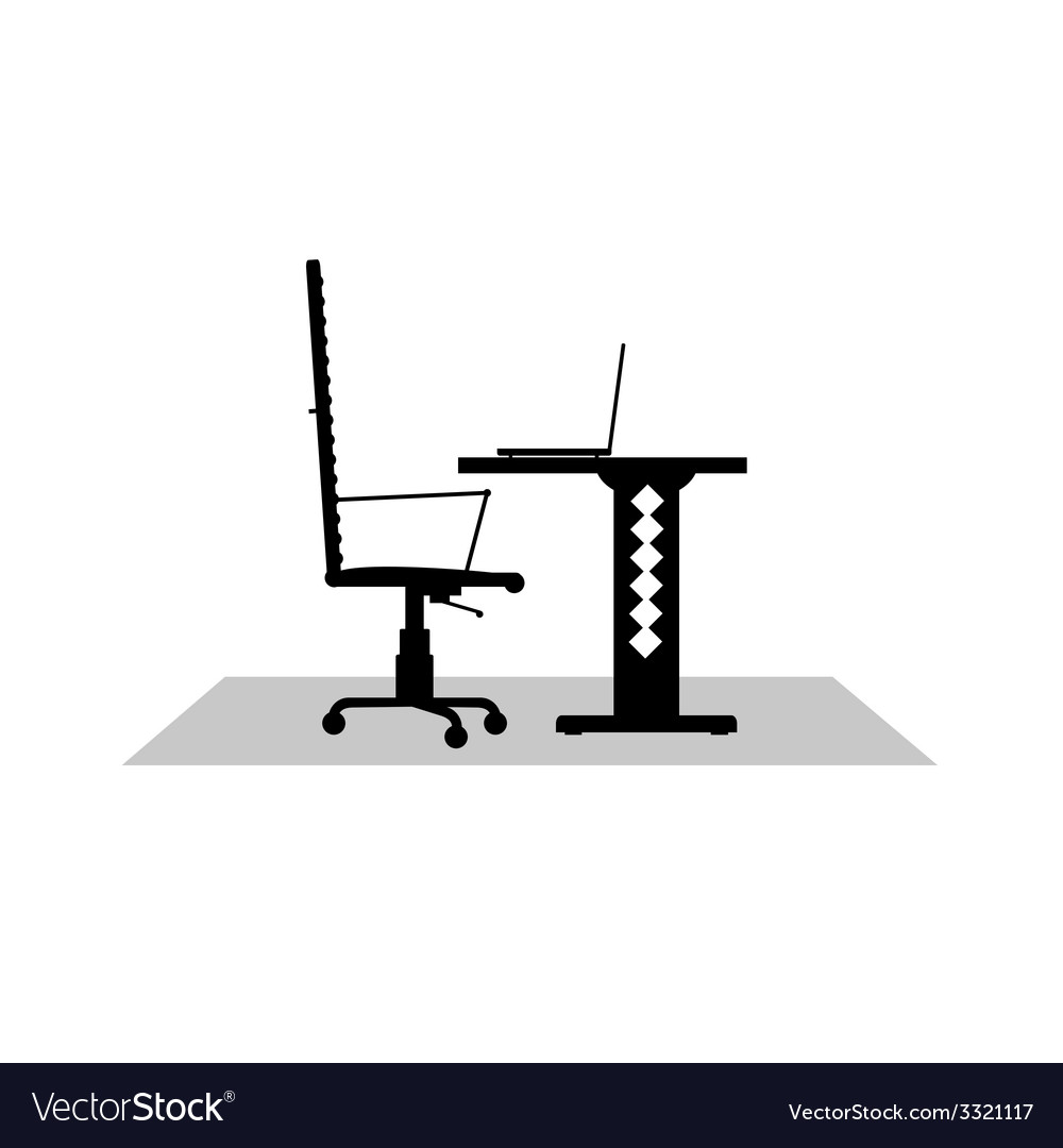 Computer desk black vector | Price: 1 Credit (USD $1)