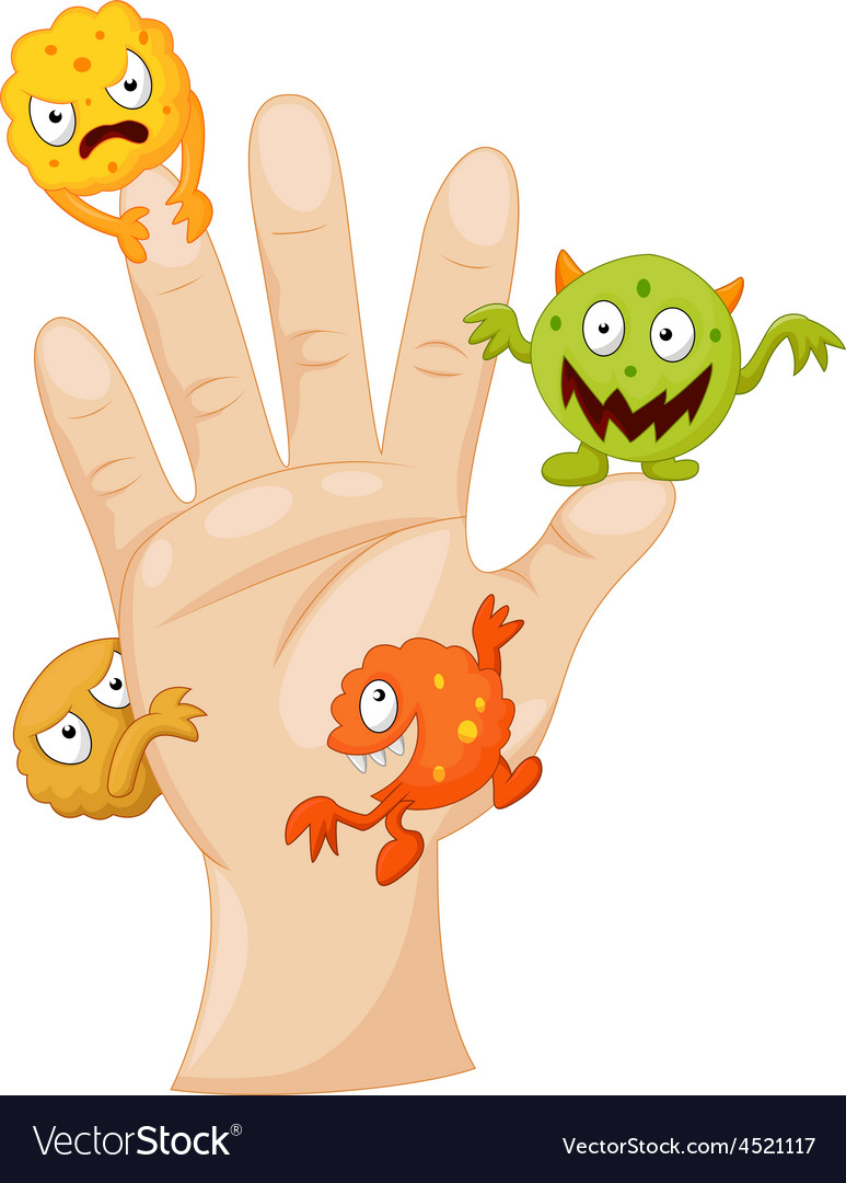 Dirty palm with cartoon germs vector | Price: 1 Credit (USD $1)