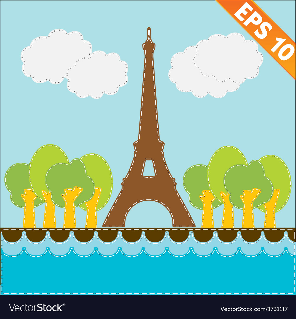 Eiffel tower with stitch style background - vector   Price: 1 Credit (USD $1)