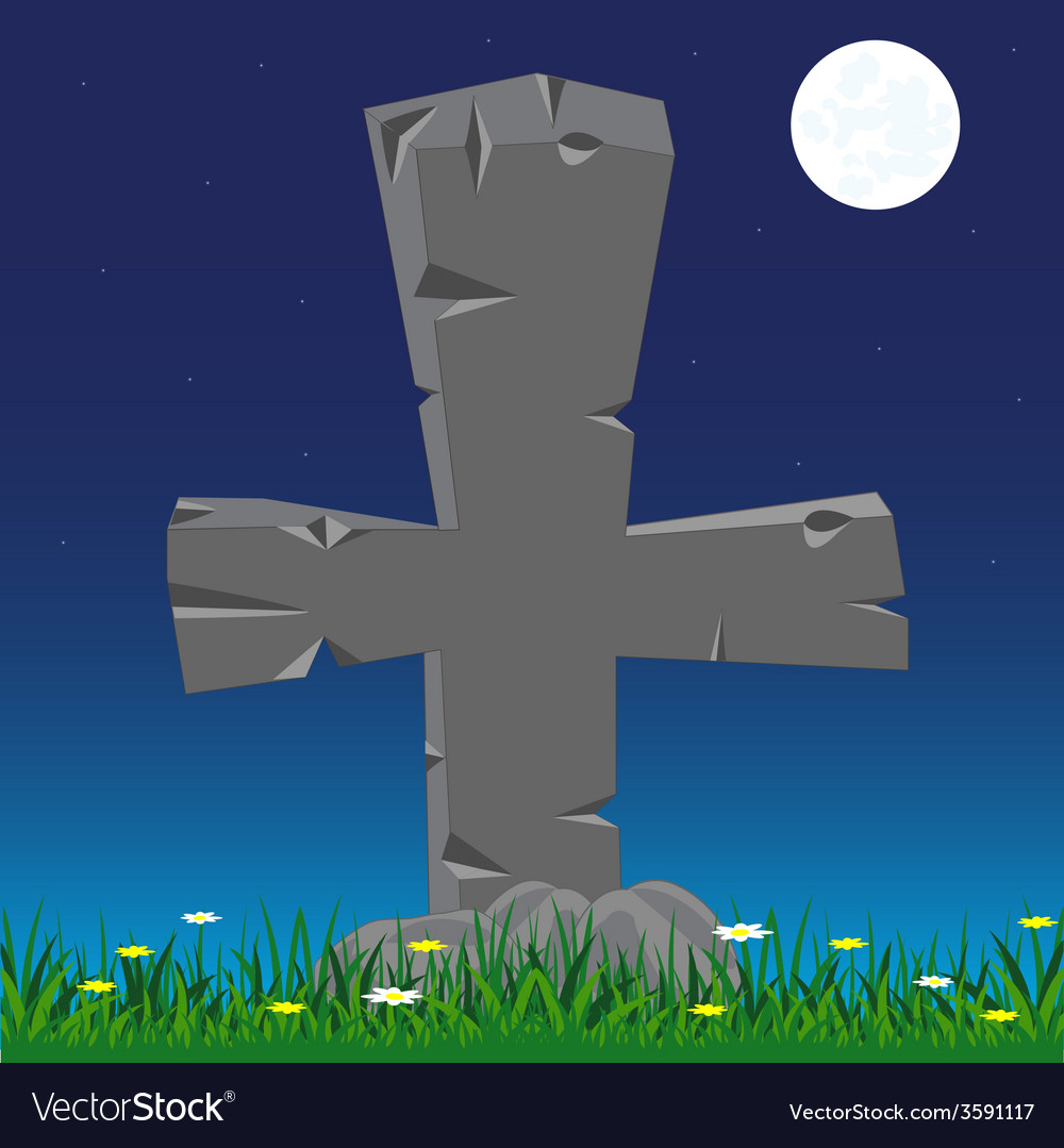 Grave with cross from stone vector | Price: 1 Credit (USD $1)