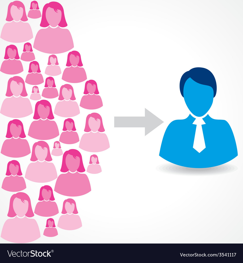 Group of female and male icons on white background vector | Price: 1 Credit (USD $1)