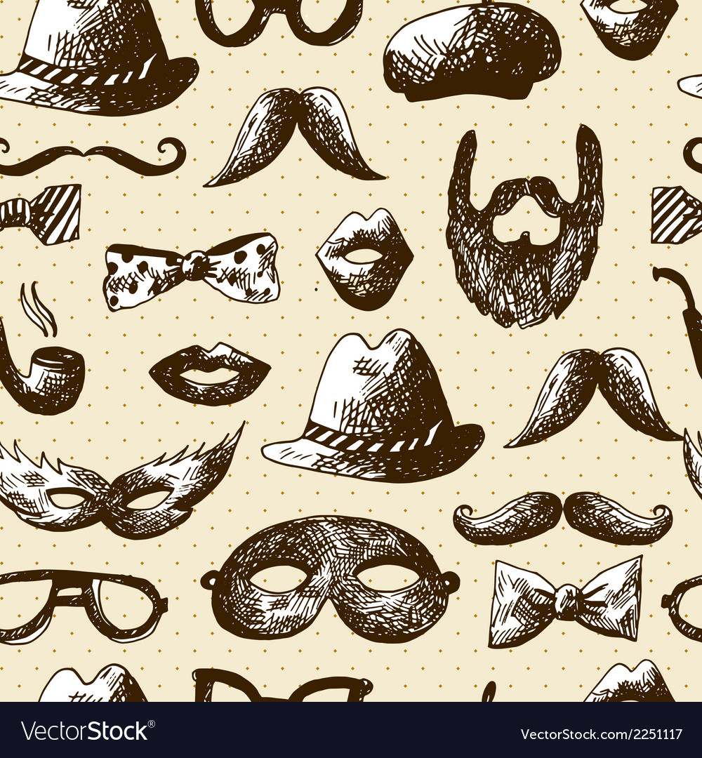 Hand drawn hipster seamless background vector | Price: 1 Credit (USD $1)