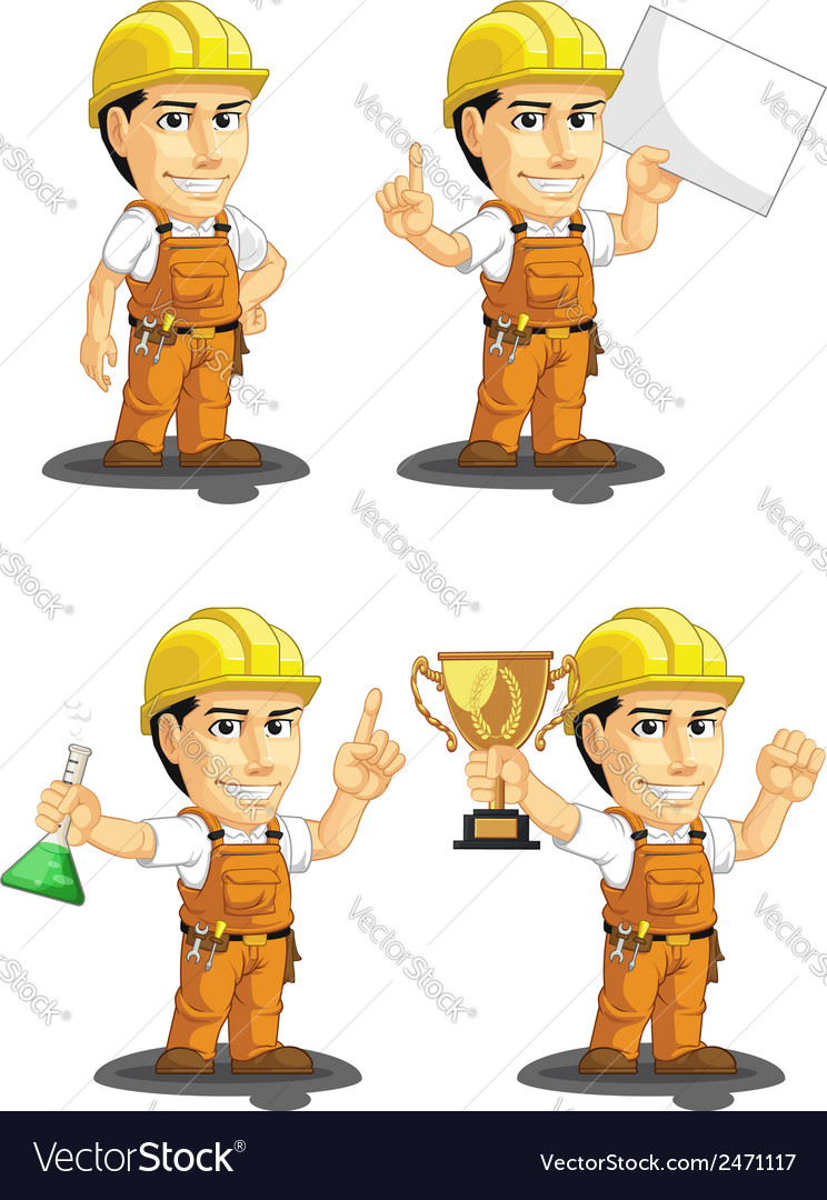 Industrial construction worker mascot 5 vector | Price: 1 Credit (USD $1)