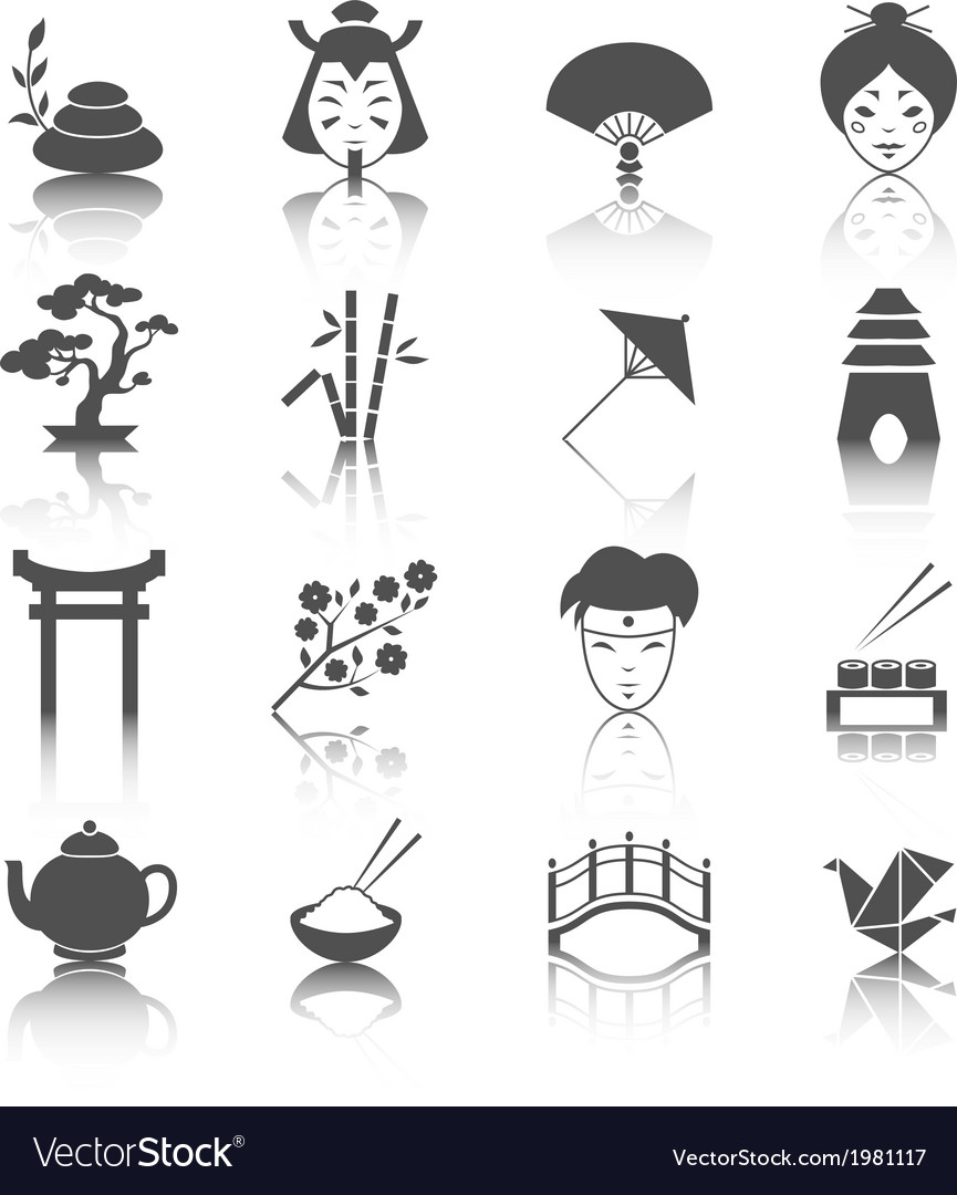 Japanese culture icons set vector