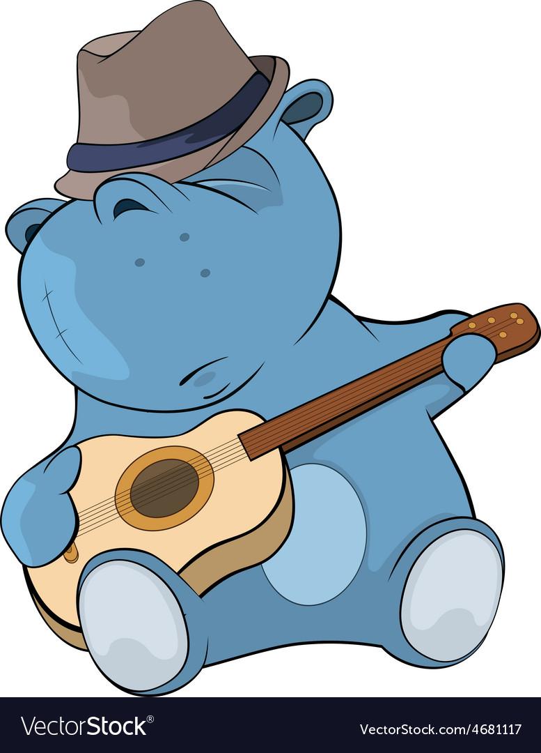 Little hippo guitarist cartoon vector | Price: 1 Credit (USD $1)