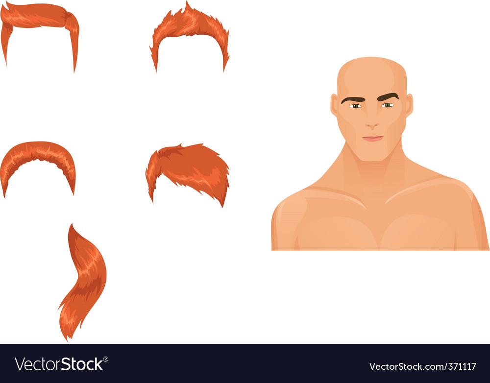 Male hairstyles redhead vector | Price: 1 Credit (USD $1)