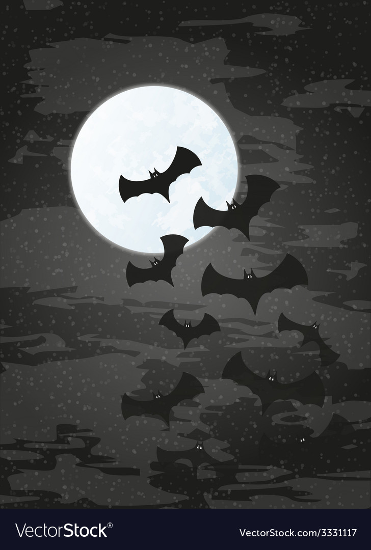 Night with moon and bats vector | Price: 1 Credit (USD $1)