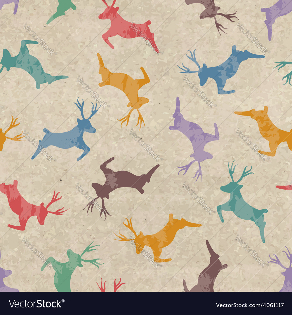 Retro christmas seamless pattern with deers vector | Price: 1 Credit (USD $1)