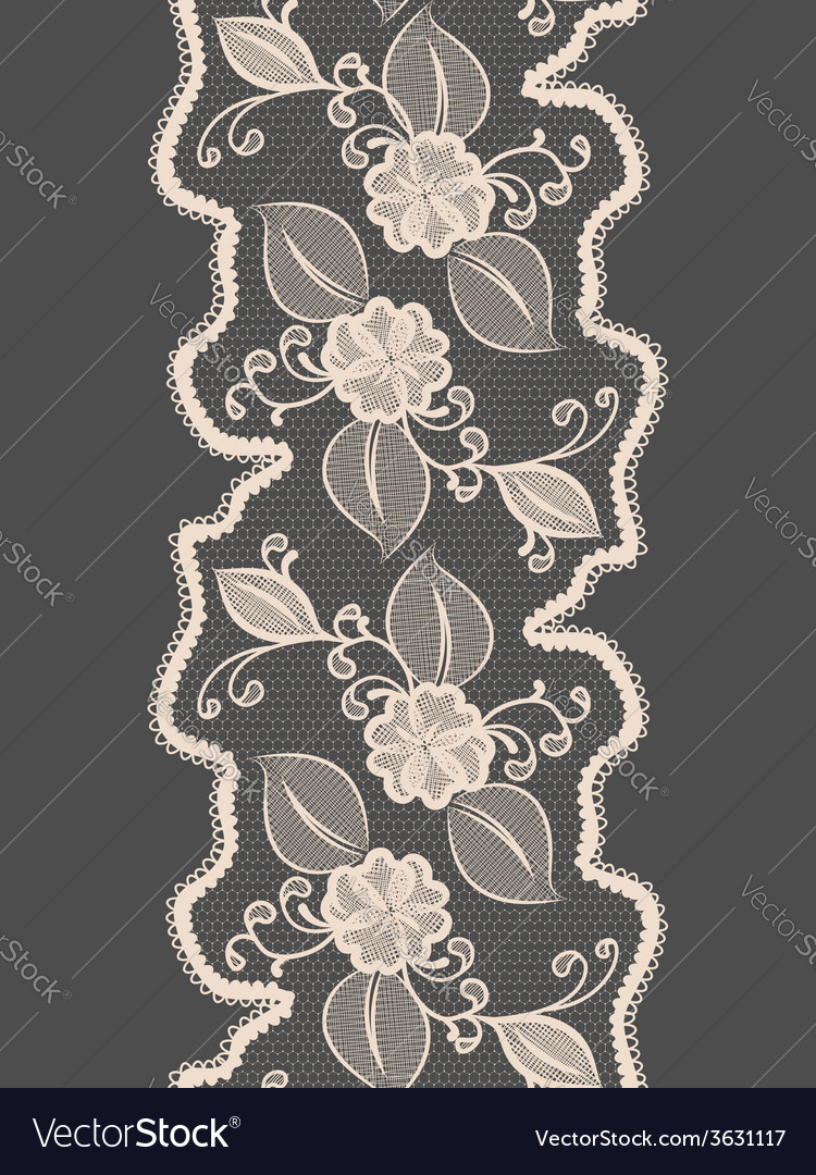 Seamless lace vertical ribbon with abstract floral vector | Price: 1 Credit (USD $1)