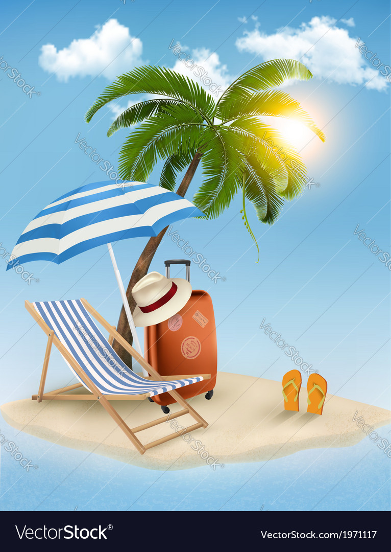 Seaside view with a palm tree beach chair and vector | Price: 3 Credit (USD $3)