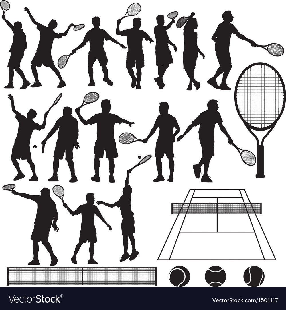 Tennis silhouette vector | Price: 3 Credit (USD $3)