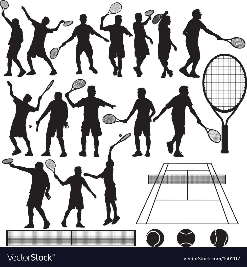 Tennis silhouette vector | Price: 3 Credit (USD $3)