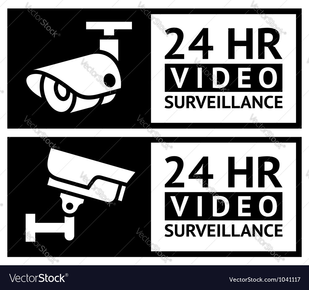 Video surveillance stickers set vector | Price: 1 Credit (USD $1)